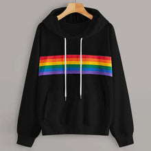 Load image into Gallery viewer, Fashionable Loose Long Sleeve Rainbow Hoodie