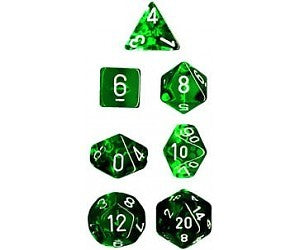 TRANSLUCENT GREEN/WHITE 7 DIE | Dice Addiction LLC
