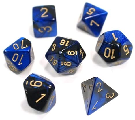 BLACK BLUE / GOLD 7 DIE GEMINI | Dice Addiction LLC
