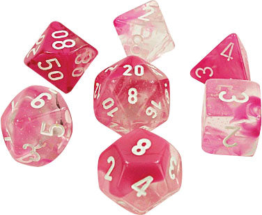 Lab Dice 4 Gemini: Poly Clear-Pink/white Luminary (7) | Dice Addiction LLC