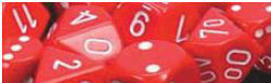 7CT OPAQUE POLY RED/WHITE DICE SET | Dice Addiction LLC