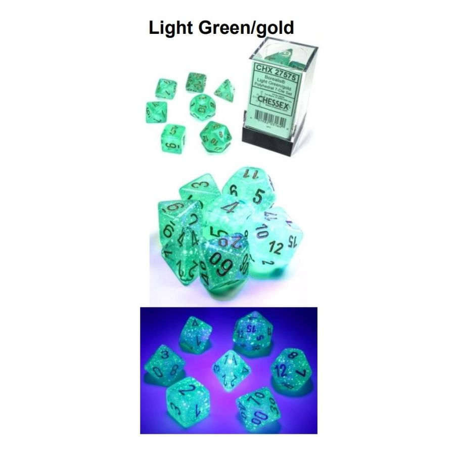 7CT POLYHEDRAL SET: BOREALIS LUMINARY LIGHT GREEN W/GOLD | Dice Addiction LLC