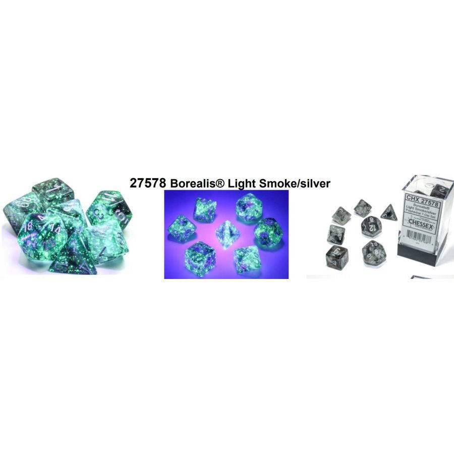 7CT POLYHEDRAL SET: BOREALIS LUMINARY LIGHT SMOKE W/SILVER | Dice Addiction LLC