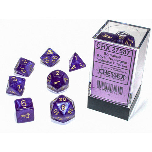 7CT POLYHEDRAL SET: BOREALIS LUMINARY ROYAL PURPLE W/GOLD | Dice Addiction LLC