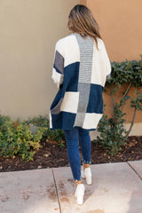 Chunky Patterns Cardigan in Teal