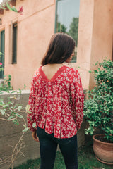 Lace Trimmed Floral Blouse