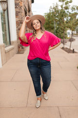 Nice Surprise Surplice Knit Top In Hot Pink
