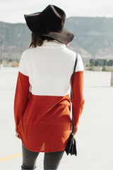 Rise Above Cowl Neck In Rust & White