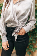 Simple Satin Top in Silver