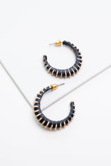 Threaded In Black Hoop Earrings