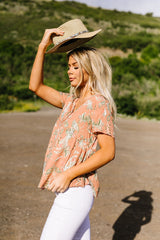 Bliss Swiss Dot Floral Top In Apricot - BeeLovely Boutique