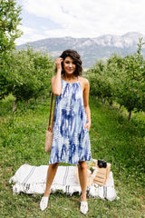Blue Fern Tie Dye Halter Dress - BeeLovely Boutique