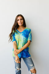 Clouds of Yellow & Blue Tie Dye Top - BeeLovely Boutique