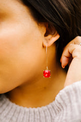 Crystal Drop Earrings In Ruby