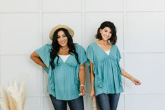 Fly Away Home Blouse In Dusty Teal