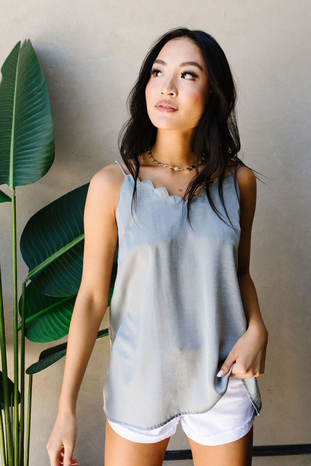 Full Scallop Sage Camisole - BeeLovely Boutique