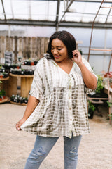 Olive Bamboo Button-Down Top - BeeLovely Boutique