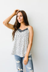 Spotted Contrast Camisole In Ivory - BeeLovely Boutique