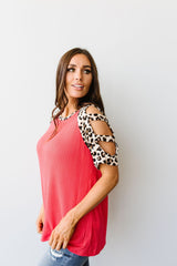 Waffle Knit Leopard Ladder Sleeve Top - BeeLovely Boutique