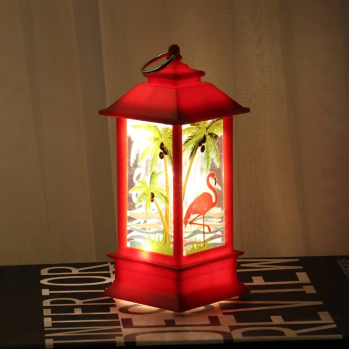 Lampe Lanterne Flamant Rose Rouge