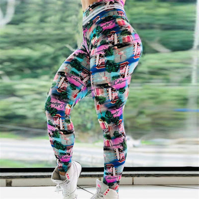 Leggings Femme Fitness Flamant Rose California
