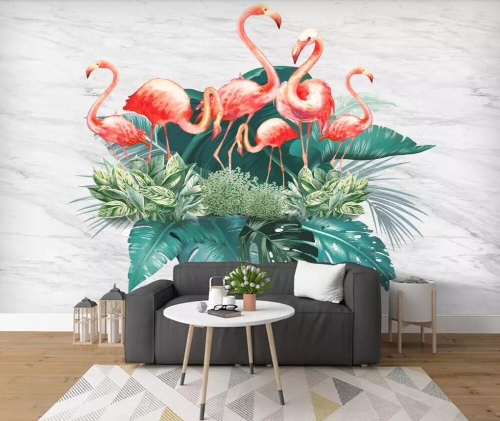 Papier Peint Flamant Rose Bouquet Tropical
