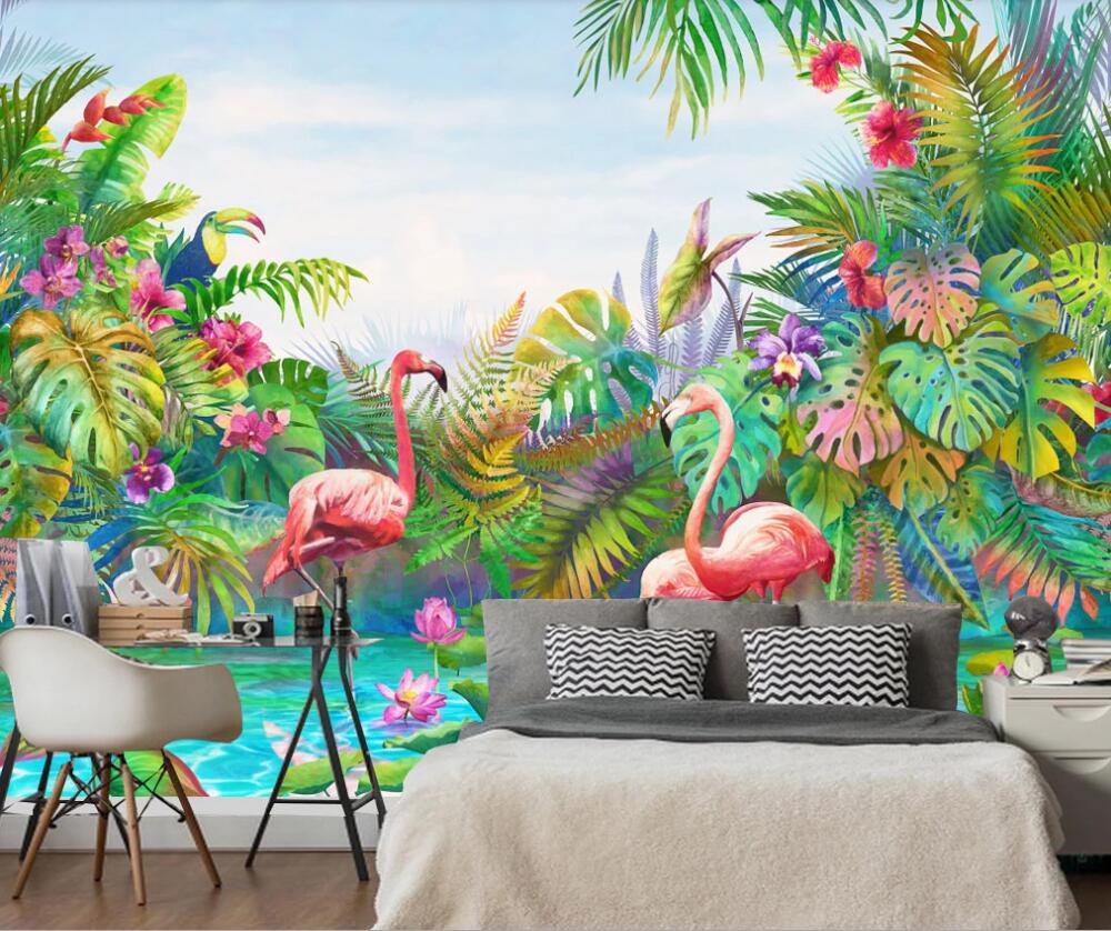Papier Peint Flamant Rose Tropical Colors