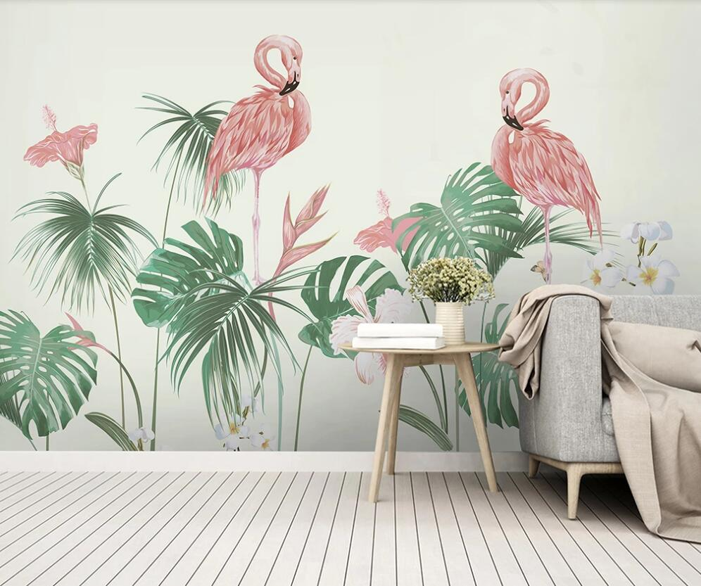 Papier Peint Flamant Rose Tropical House