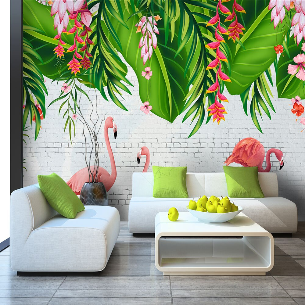 Papier Peint Flamant Rose Tropical Island