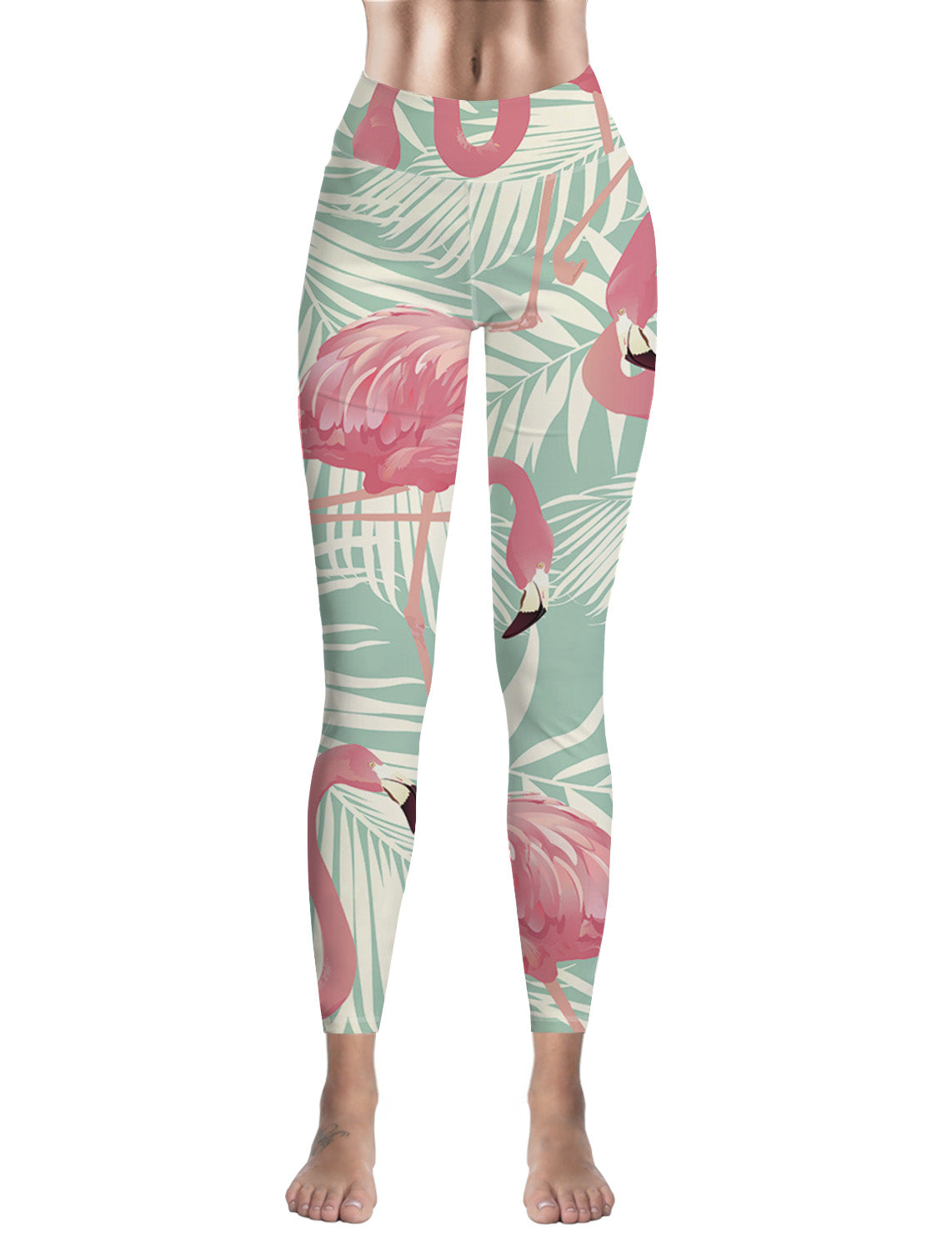 Leggings Femme Fitness Flamant Rose Tropical Vert