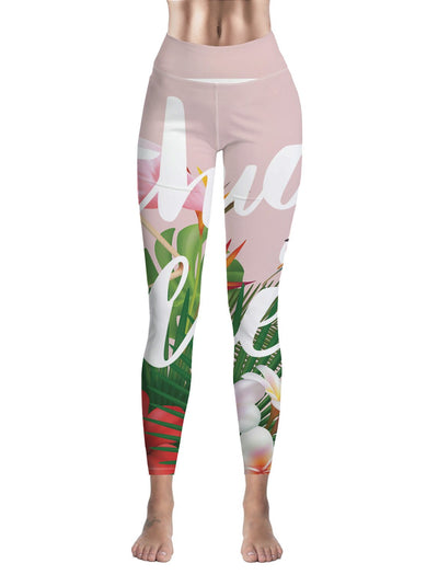 Leggings Femme Fitness Flamant Rose Summer Chic
