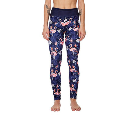 Leggings Femme Fitness Flamant Rose Tropical Blue