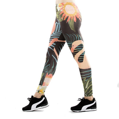 Leggings Femme Fitness Flamant Rose Tropical Summer Noir