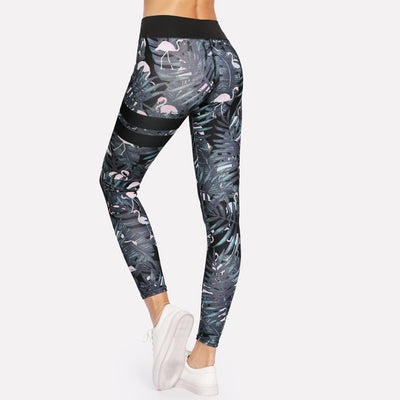 Leggings Femme Fitness Flamant Rose Chic Noir