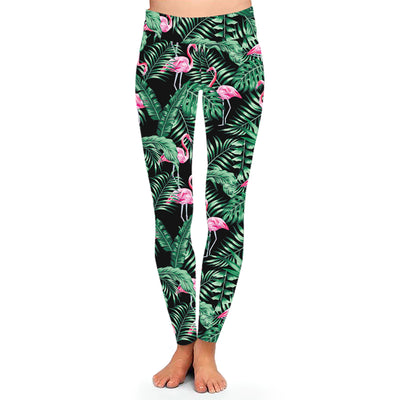 Leggings Femme Fitness Flamant Rose Feuillage