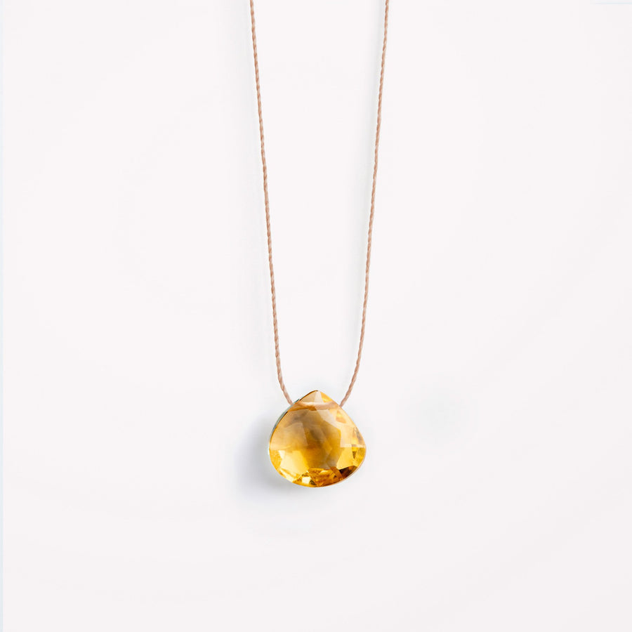 Fine Cord Necklace | Citrine