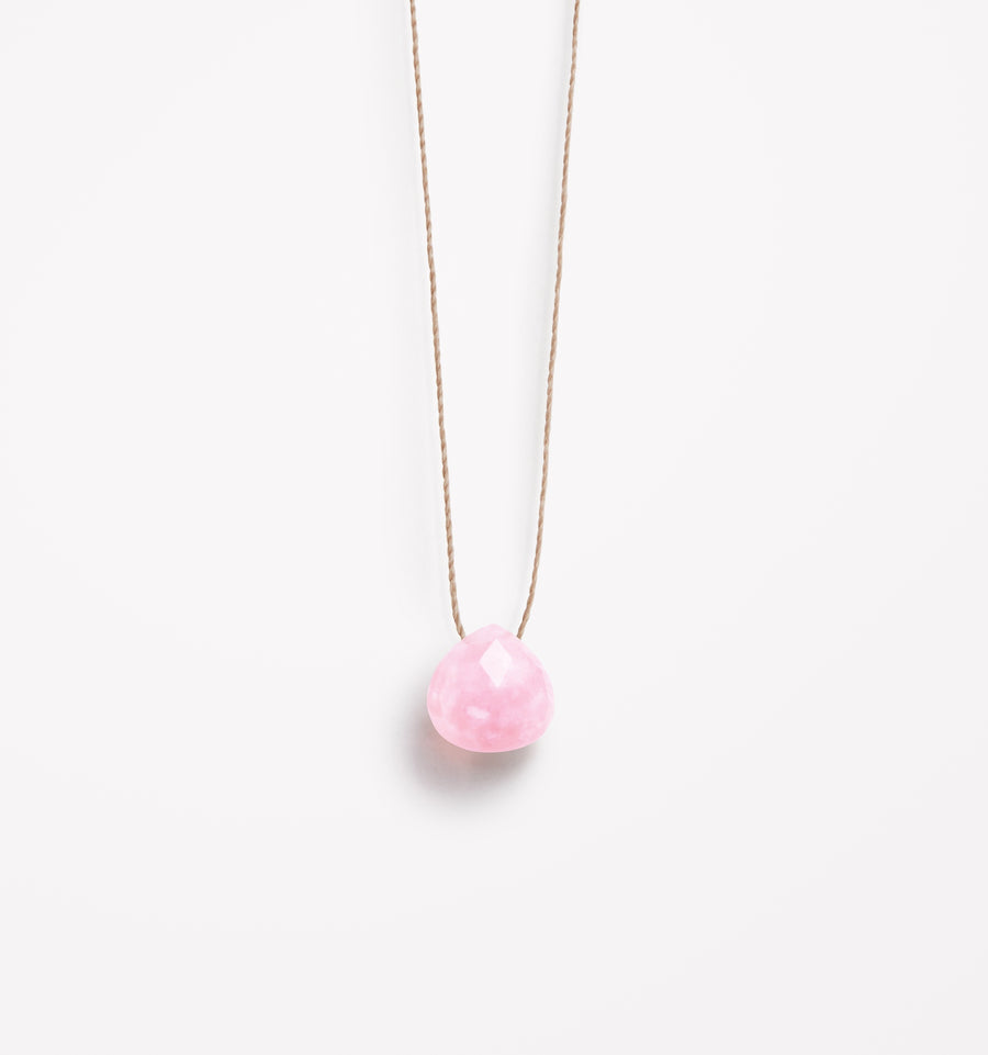 October Birthstone Necklace | Pink Opal