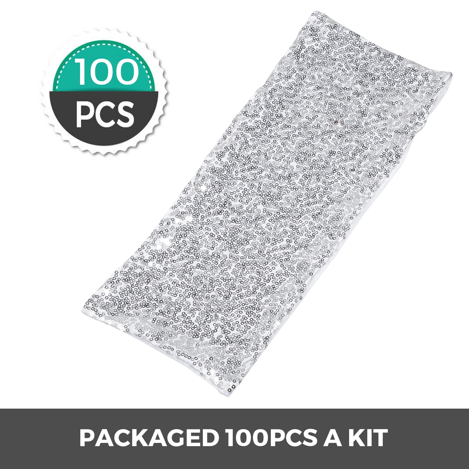 100pcs Spandex Stretch Chair Cover Sashes Band Silver Satin Polyester Sequin
