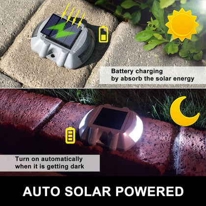 12x Solar Powered 6 Led Garden Road Driveway Pathway Security Lights Aluminum