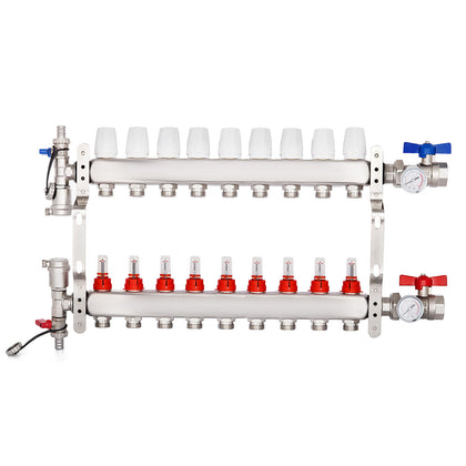 9-branch Pex Radiant Floor Heating Manifold Set Premium Safe Leak-proof
