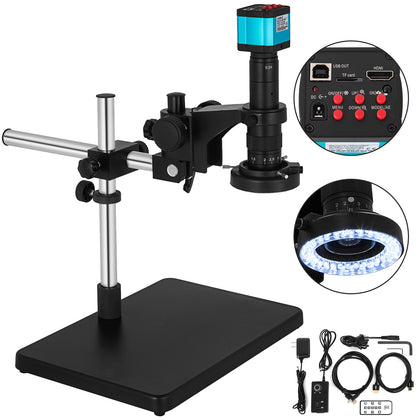 14mp Microscope 0.7x-4.5x Cmos Camera Usb Hdmi Remote Control W/boom Stand Led
