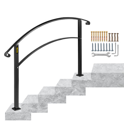 Vevor Wrought Iron Handrail Stair Railing Fit 1 Or 2 Steps Adjustable Hand Rail