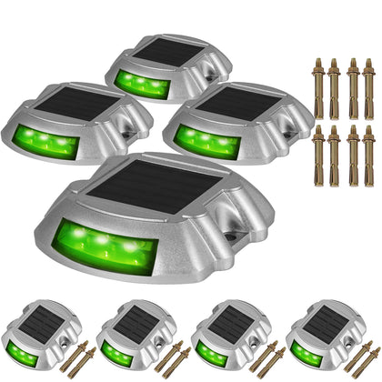 Solar Led Pathway Driveway Lights/ Dock Path/ Road Safety Markers -8 Pack