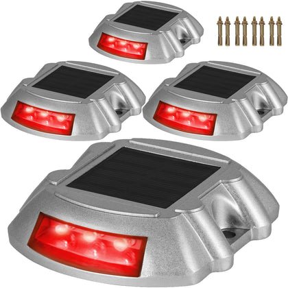 4pcs Solar Led Marker Lights Safety Light For Pathway Driveway Dock Path Deck