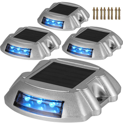 4x Solar Led Marker Lights Safety Light For Pathway Driveway Dock Path Deck Au