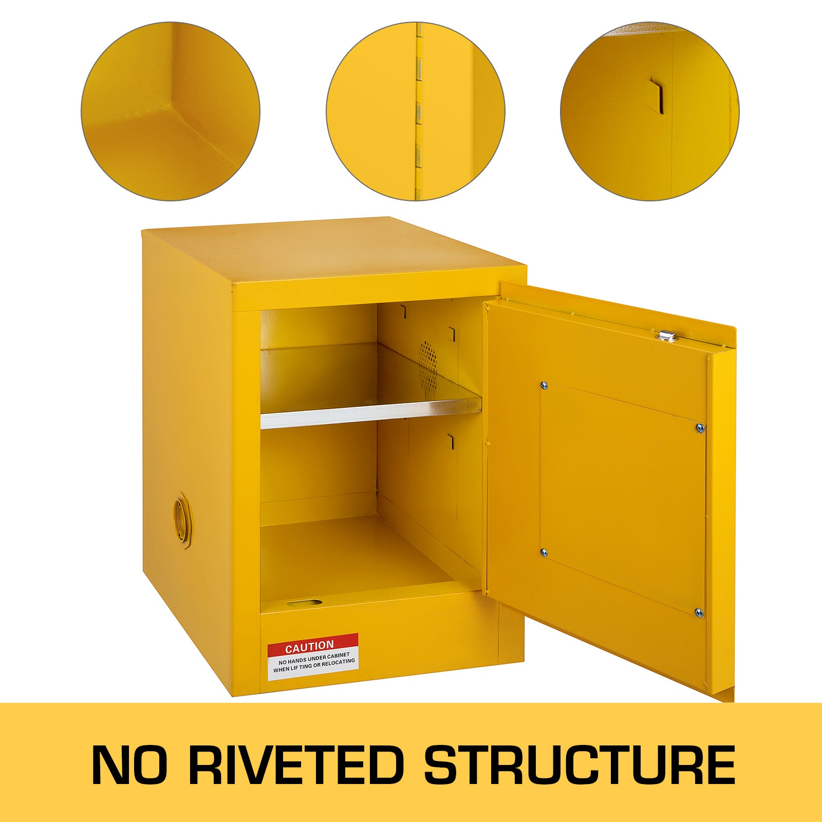 16 Gallon Safety Cabinet For Flammable Liquids Yellow Manual Warning Label