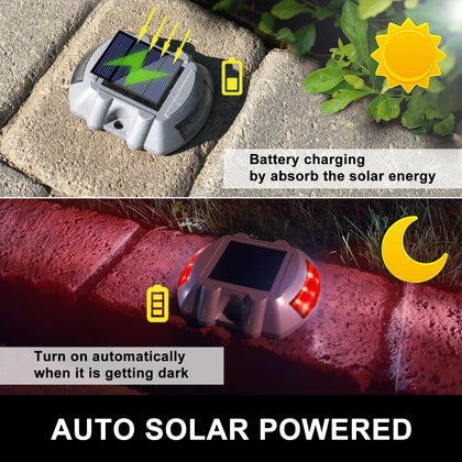 8pcs Solar Led Marker Lights Safety Light For Pathway Driveway Dock Path Deck