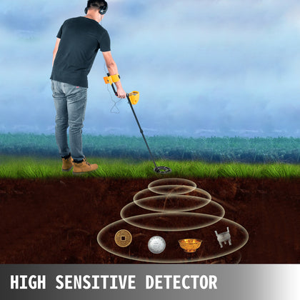 Pro Waterproof Metal Detector Gold Scanner Gold Bug Treasure Hunter 5 Modes