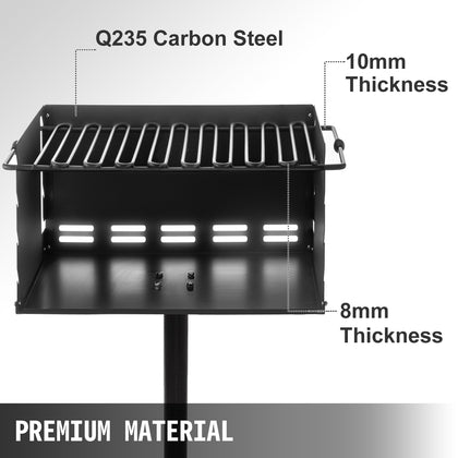 Outdoor Park Style Grill Park Style Charcoal Grill 16 X 16 Inch In-ground Pillar