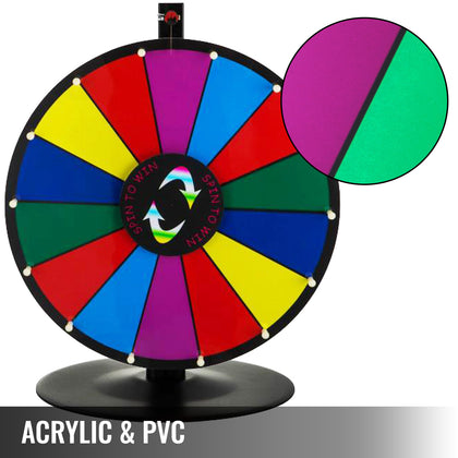 38cm 15' Prize Wheel - Tabletop Editable Dry Erase Fortune Carnival Spining Game